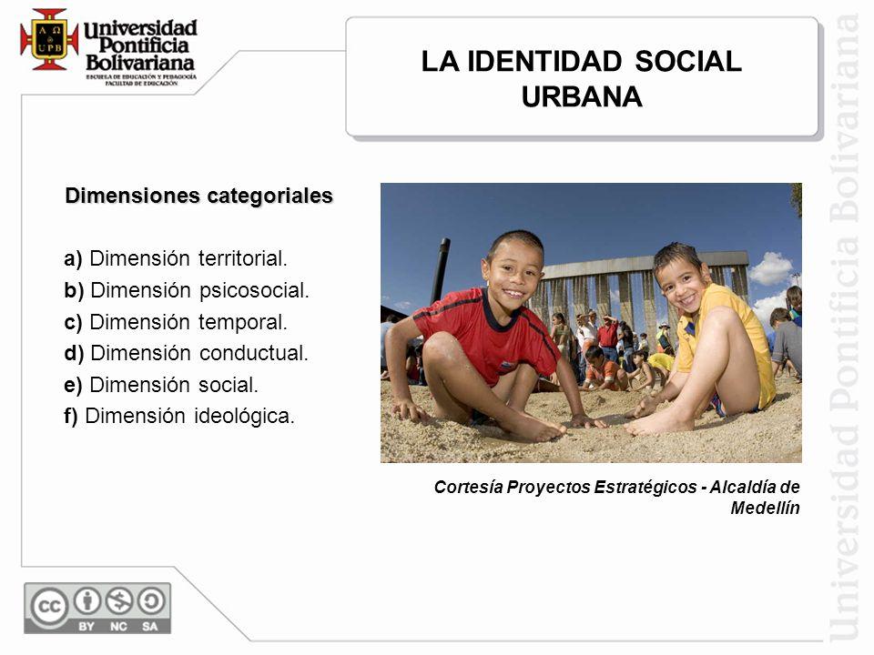 LA IDENTIDAD SOCIAL URBANA Dimensiones categoriales a) Dimensión territorial.