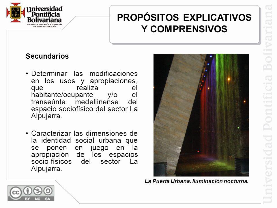 Secundarios Determinar las modificaciones en los usos y apropiaciones, que realiza el habitante/ocupante y/o el transeúnte medellinense del espacio sociofísico del sector La Alpujarra.