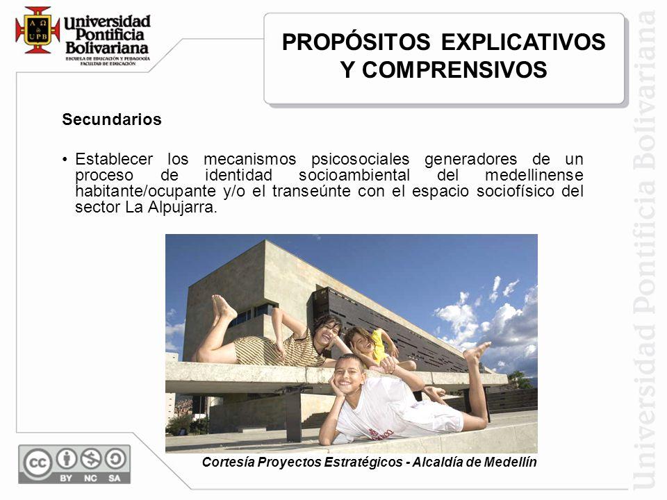 Secundarios Establecer los mecanismos psicosociales generadores de un proceso de identidad socioambiental del medellinense habitante/ocupante y/o el transeúnte con el espacio sociofísico del sector La Alpujarra.
