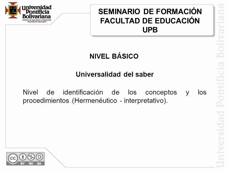 Universalidad del saber Nivel de identificación de los conceptos y los procedimientos (Hermenéutico - interpretativo).