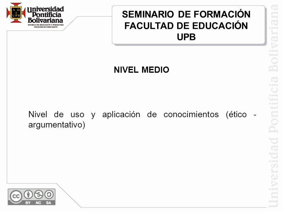 NIVEL MEDIO Nivel de uso y aplicación de conocimientos (ético - argumentativo) SEMINARIO DE FORMACIÓN FACULTAD DE EDUCACIÓN UPB