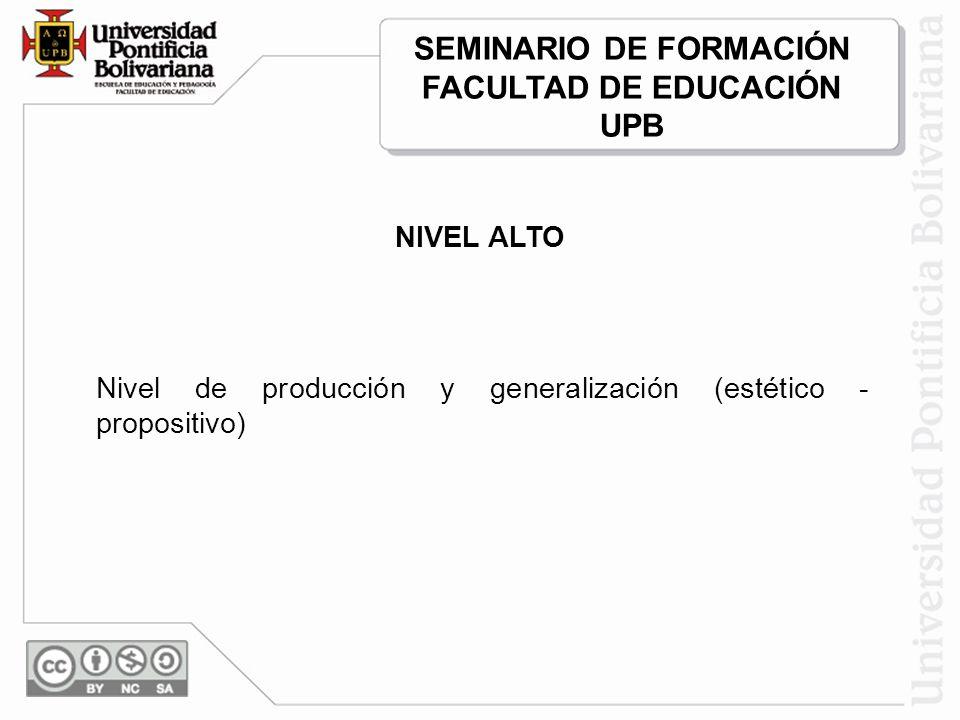 NIVEL ALTO Nivel de producción y generalización (estético - propositivo) SEMINARIO DE FORMACIÓN FACULTAD DE EDUCACIÓN UPB