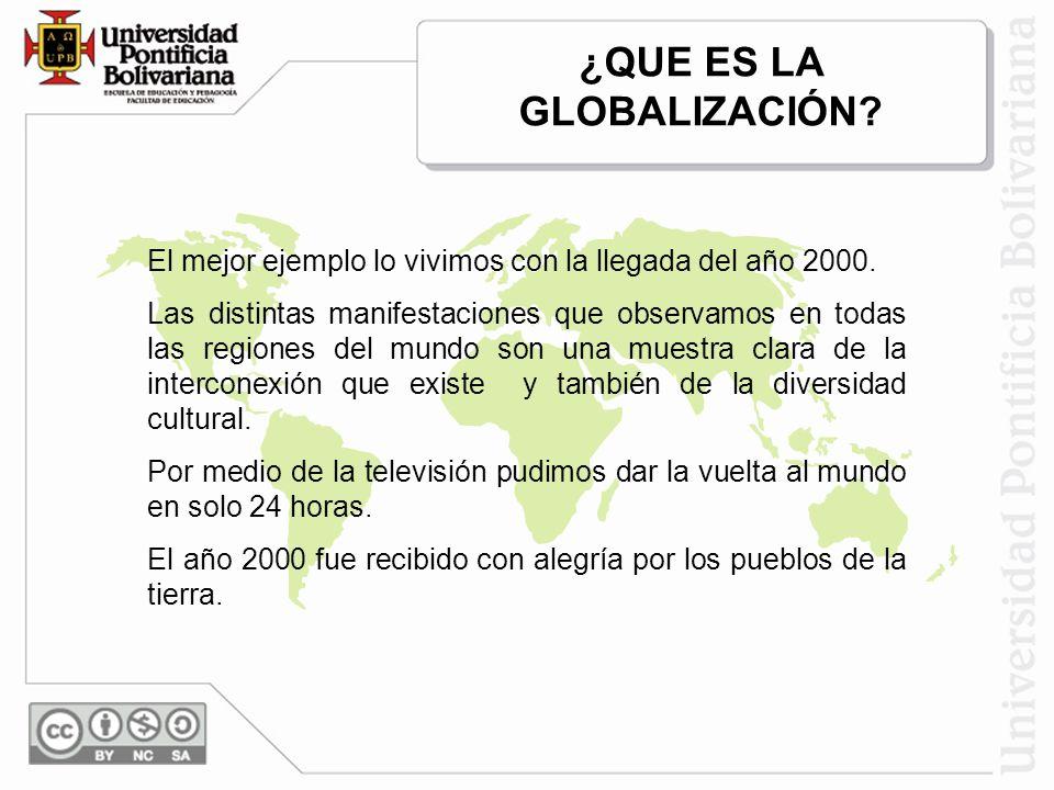 ¿QUE ES LA GLOBALIZACIÓN? El mejor ejemplo lo vivimos con la llegada del año 2000. Las distintas manifestaciones que observamos en todas las regiones