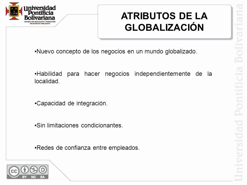 ATRIBUTOS DE LA GLOBALIZACIÓN Nuevo concepto de los negocios en un mundo globalizado. Habilidad para hacer negocios independientemente de la localidad