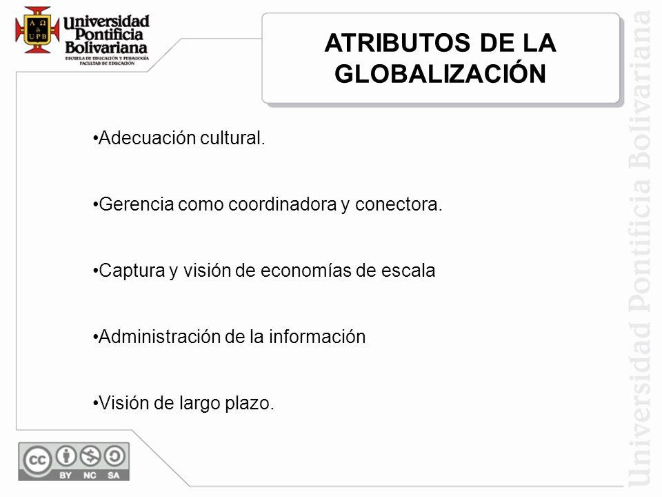 Adecuación cultural. Gerencia como coordinadora y conectora. Captura y visión de economías de escala Administración de la información Visión de largo