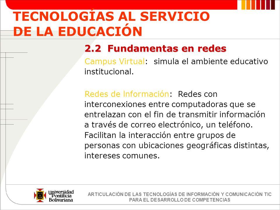 ARTICULACIÓN DE LAS TECNOLOGÍAS DE INFORMACIÓN Y COMUNICACIÓN TIC PARA EL DESARROLLO DE COMPETENCIAS TECNOLOGÍAS AL SERVICIO DE LA EDUCACIÓN 2.2 Funda