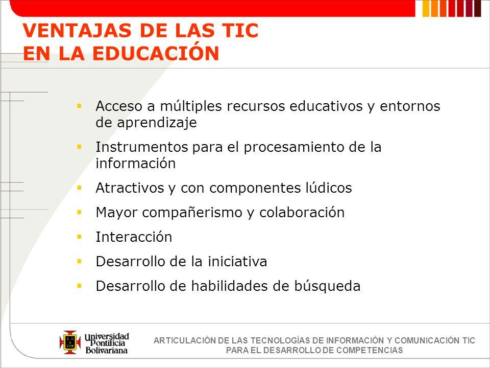 ARTICULACIÓN DE LAS TECNOLOGÍAS DE INFORMACIÓN Y COMUNICACIÓN TIC PARA EL DESARROLLO DE COMPETENCIAS Acceso a múltiples recursos educativos y entornos
