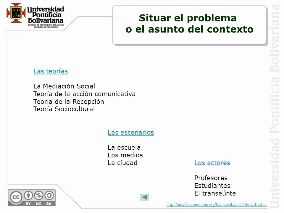 http://creativecommons.org/licenses/by-nc/2.5/co/deed.es El mapa de las mediaciones Jesús Martín-Barbero ritualidad institucionalidadtecnicidad socialidad Eje sincrónico Eje diacrónico