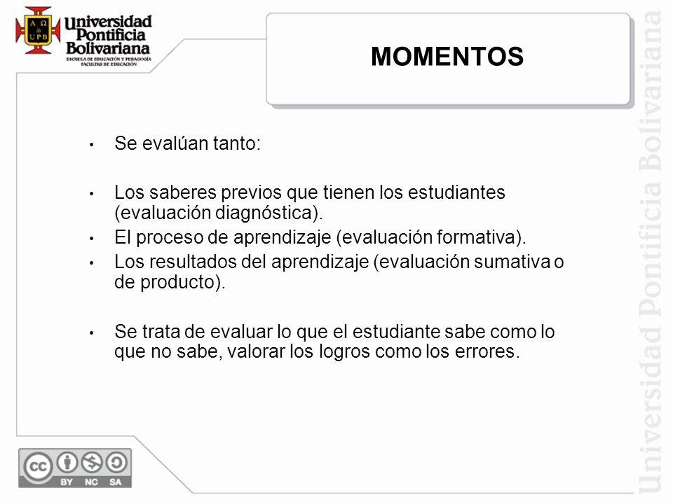 MOMENTOS Se evalúan tanto: Los saberes previos que tienen los estudiantes (evaluación diagnóstica). El proceso de aprendizaje (evaluación formativa).