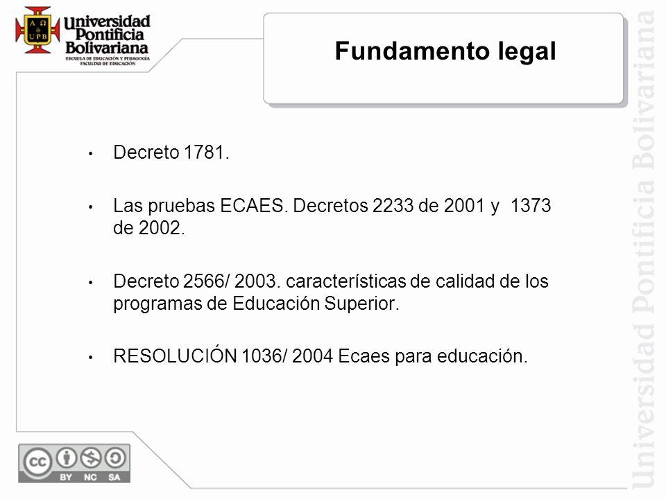 Fundamento legal Decreto 1781. Las pruebas ECAES. Decretos 2233 de 2001 y 1373 de 2002. Decreto 2566/ 2003. características de calidad de los programa