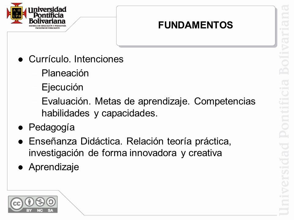 FUNDAMENTOS Currículo. Intenciones – –Planeación – –Ejecución – –Evaluación. Metas de aprendizaje. Competencias habilidades y capacidades. Pedagogía E