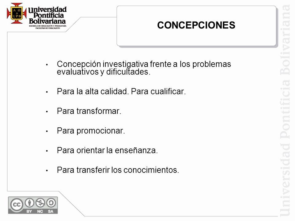 Concepción investigativa frente a los problemas evaluativos y dificultades. Para la alta calidad. Para cualificar. Para transformar. Para promocionar.