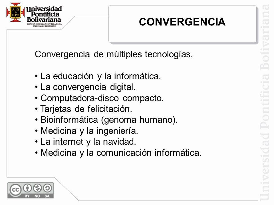 Convergencia de múltiples tecnologías. La educación y la informática. La convergencia digital. Computadora-disco compacto. Tarjetas de felicitación. B