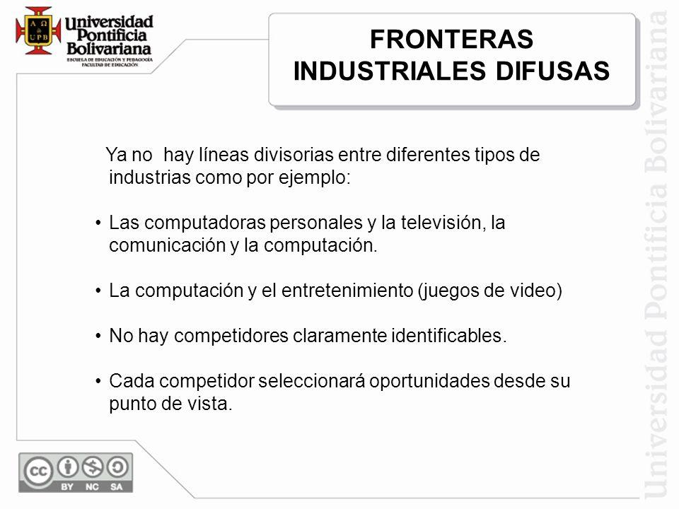 Ya no hay líneas divisorias entre diferentes tipos de industrias como por ejemplo: Las computadoras personales y la televisión, la comunicación y la c