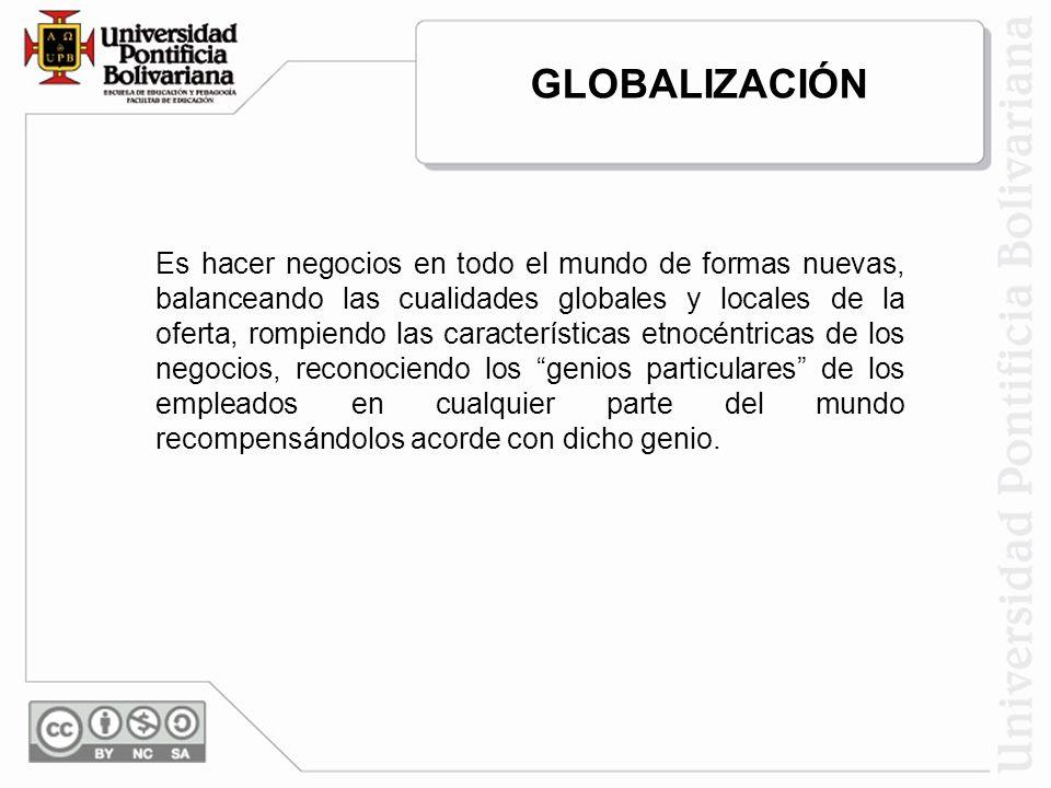 Es hacer negocios en todo el mundo de formas nuevas, balanceando las cualidades globales y locales de la oferta, rompiendo las características etnocén