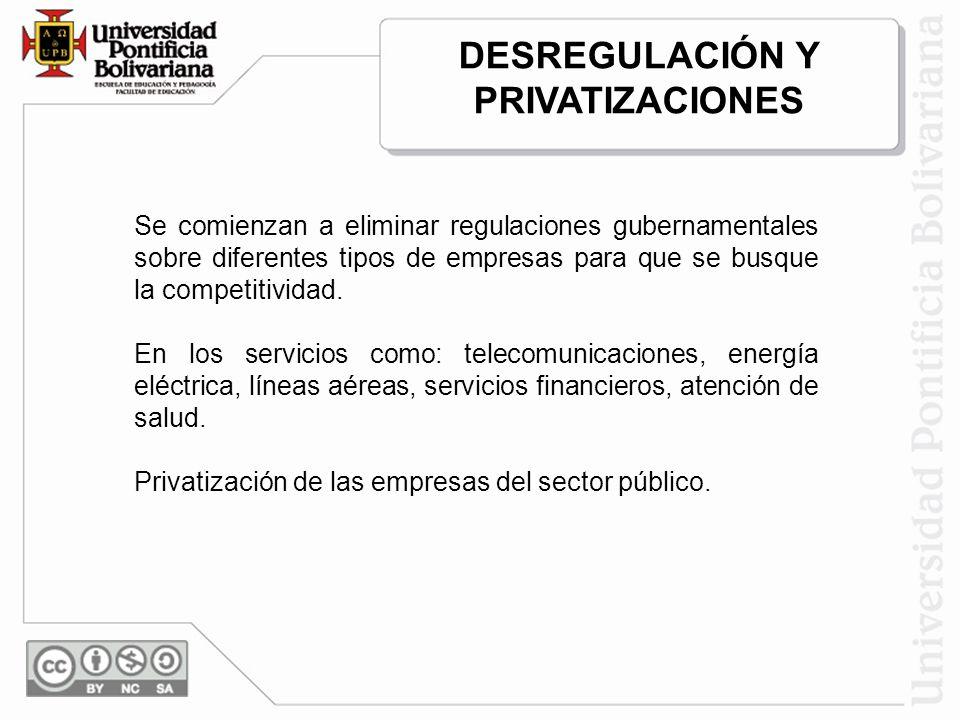 Se comienzan a eliminar regulaciones gubernamentales sobre diferentes tipos de empresas para que se busque la competitividad. En los servicios como: t