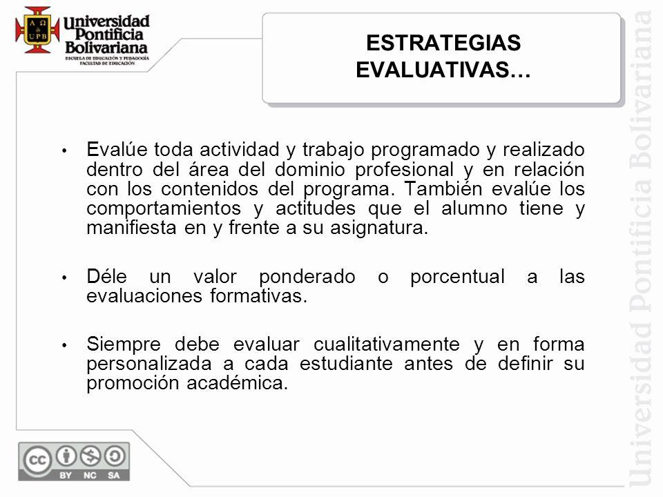 ESTRATEGIAS EVALUATIVAS… Evalúe toda actividad y trabajo programado y realizado dentro del área del dominio profesional y en relación con los contenid