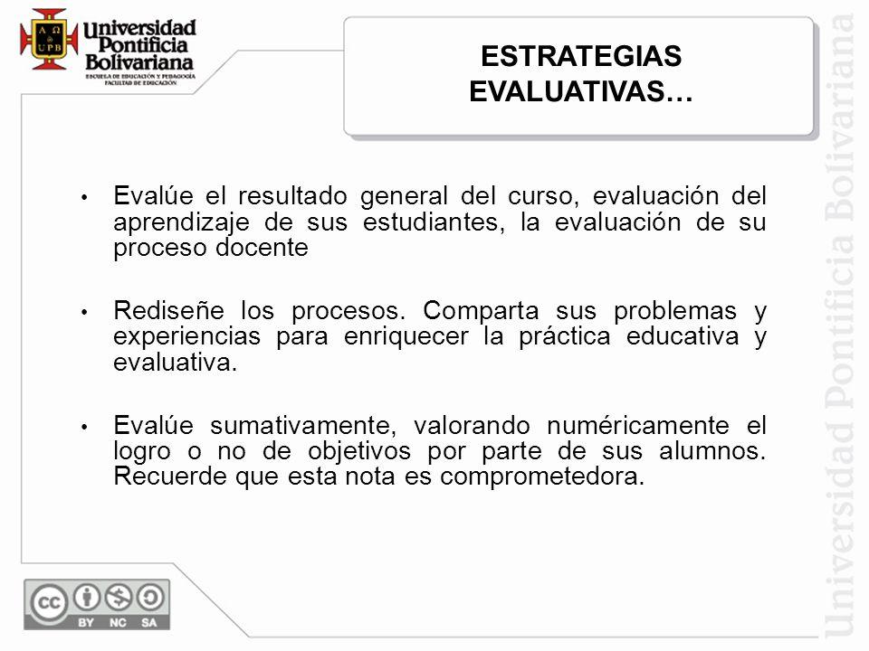 Evalúe el resultado general del curso, evaluación del aprendizaje de sus estudiantes, la evaluación de su proceso docente Rediseñe los procesos. Compa