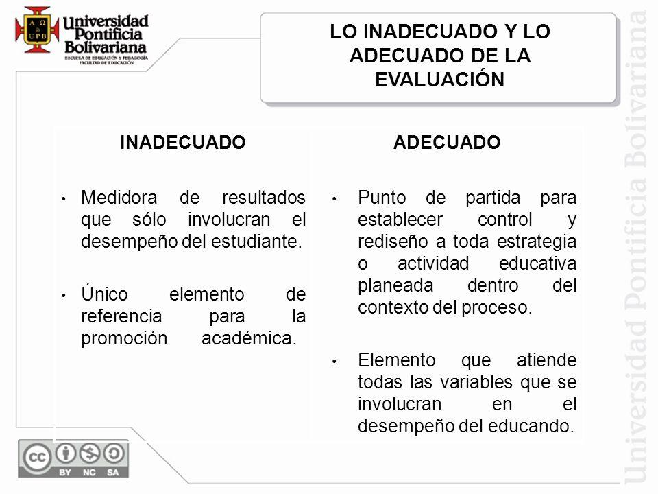 INADECUADOADECUADO Medidora de resultados que sólo involucran el desempeño del estudiante. Único elemento de referencia para la promoción académica. P