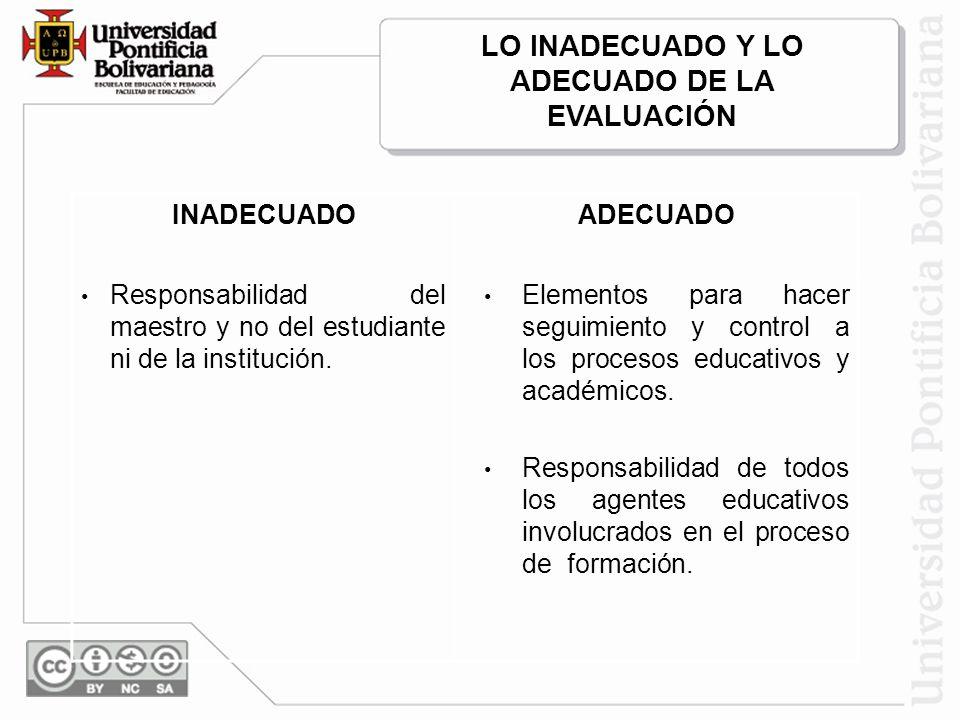 INADECUADOADECUADO Responsabilidad del maestro y no del estudiante ni de la institución. Elementos para hacer seguimiento y control a los procesos edu