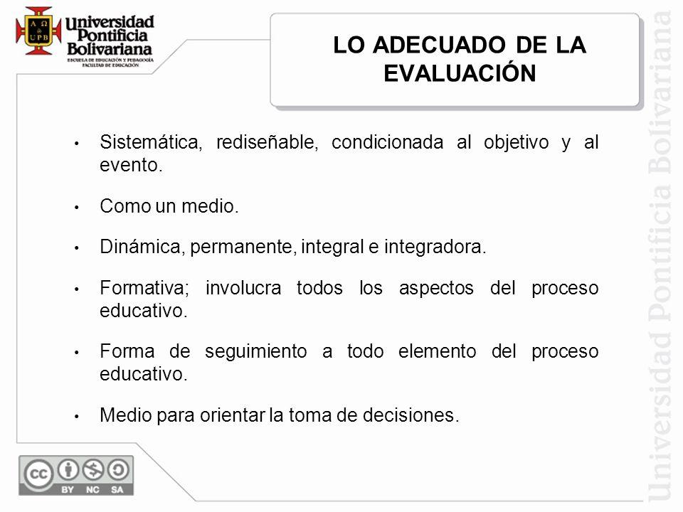 Sistemática, rediseñable, condicionada al objetivo y al evento. Como un medio. Dinámica, permanente, integral e integradora. Formativa; involucra todo