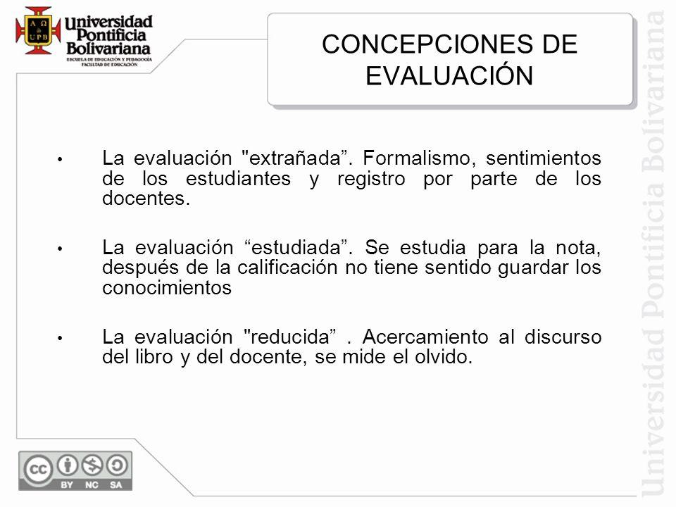 CONCEPCIONES DE EVALUACIÓN La evaluación