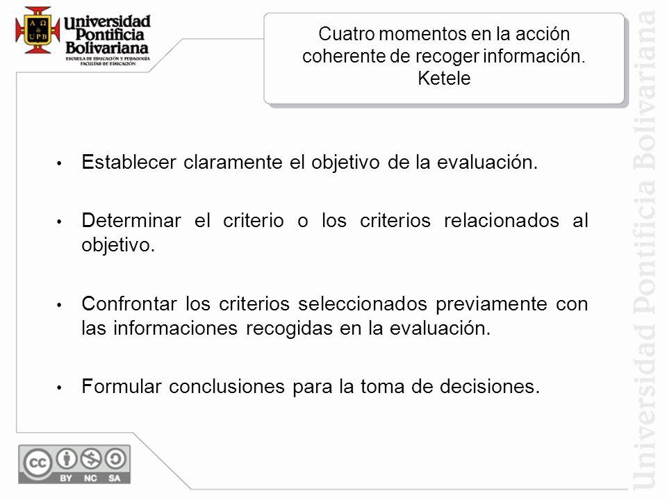 Cuatro momentos en la acción coherente de recoger información. Ketele Establecer claramente el objetivo de la evaluación. Determinar el criterio o los