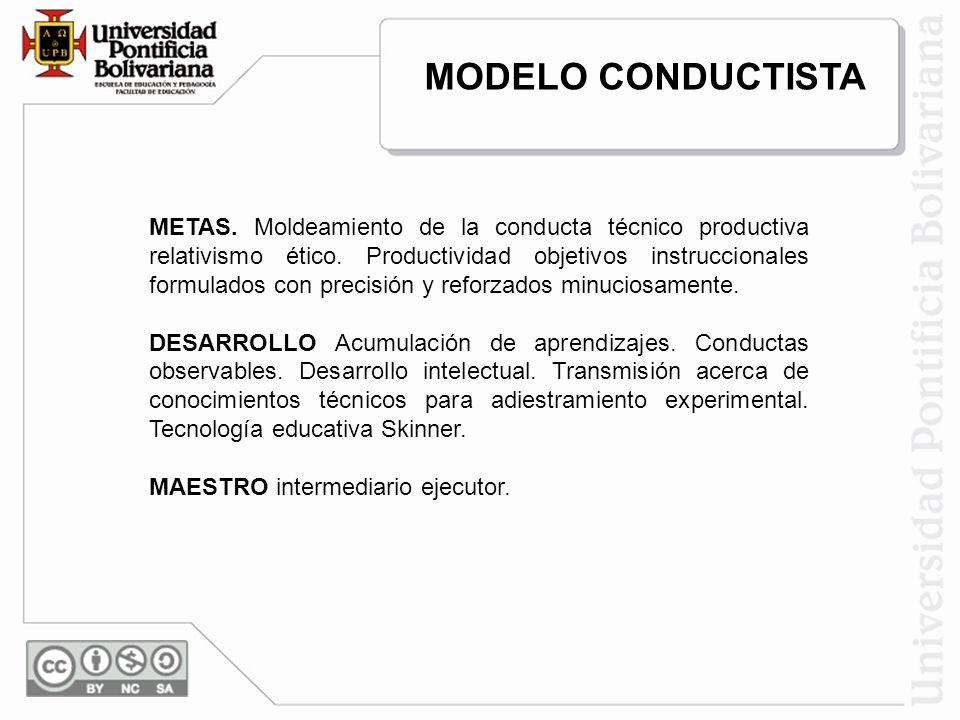 METAS. Moldeamiento de la conducta técnico productiva relativismo ético. Productividad objetivos instruccionales formulados con precisión y reforzados