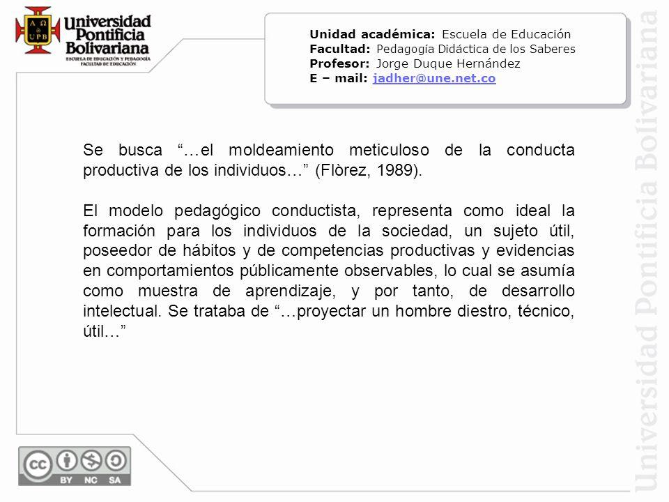Se busca …el moldeamiento meticuloso de la conducta productiva de los individuos… (Flòrez, 1989). El modelo pedagógico conductista, representa como id
