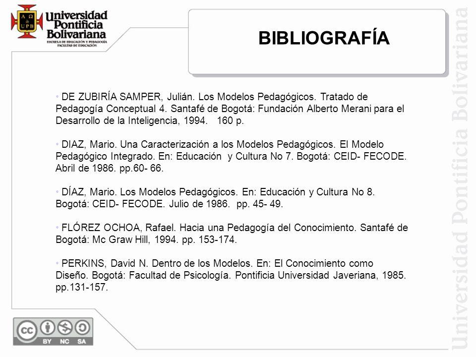 DE ZUBIRÍA SAMPER, Julián. Los Modelos Pedagógicos. Tratado de Pedagogía Conceptual 4. Santafé de Bogotá: Fundación Alberto Merani para el Desarrollo
