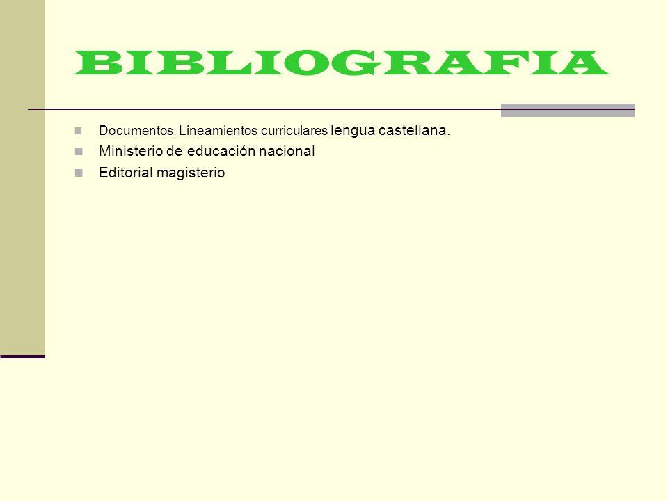 BIBLIOGRAFIA Documentos.Lineamientos curriculares lengua castellana.