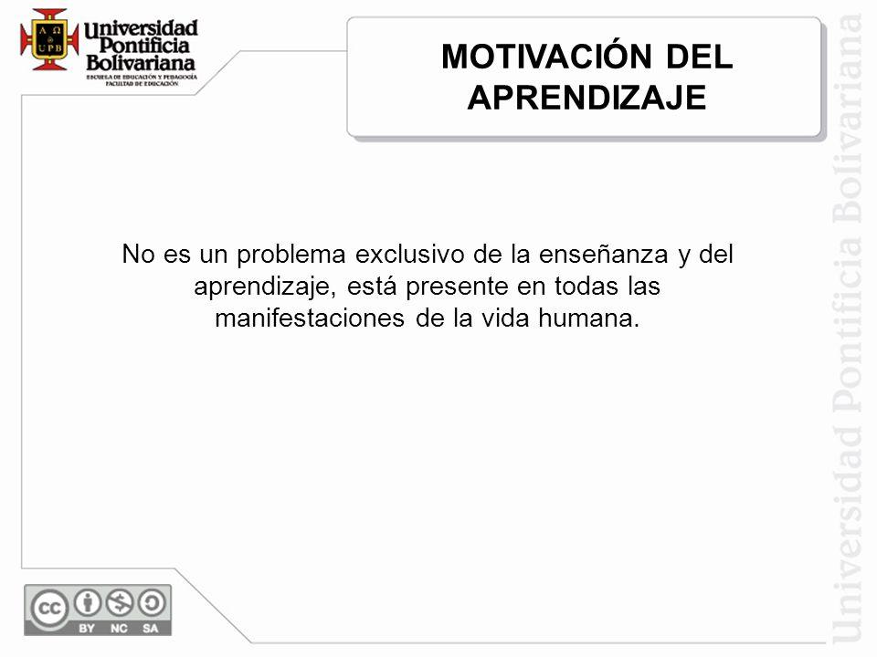 MOTIVACIÓN DEL APRENDIZAJE No es un problema exclusivo de la enseñanza y del aprendizaje, está presente en todas las manifestaciones de la vida humana.