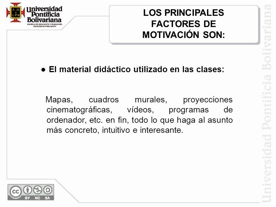 El material didáctico utilizado en las clases: Mapas, cuadros murales, proyecciones cinematográficas, vídeos, programas de ordenador, etc.