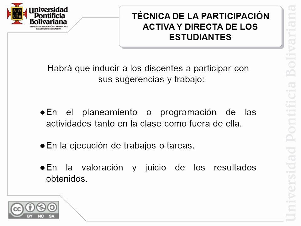 Habrá que inducir a los discentes a participar con sus sugerencias y trabajo: En el planeamiento o programación de las actividades tanto en la clase como fuera de ella.