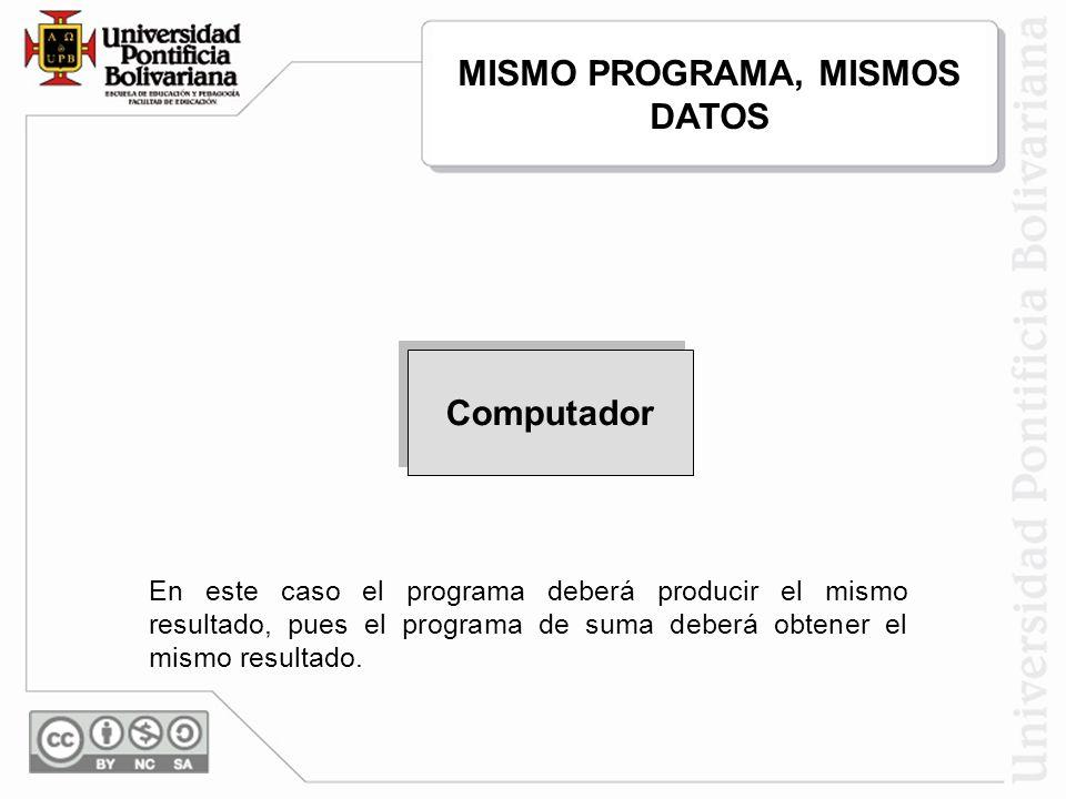 65,35,6,78,67 186 Programa de Suma En este caso el programa deberá producir el mismo resultado, pues el programa de suma deberá obtener el mismo resul