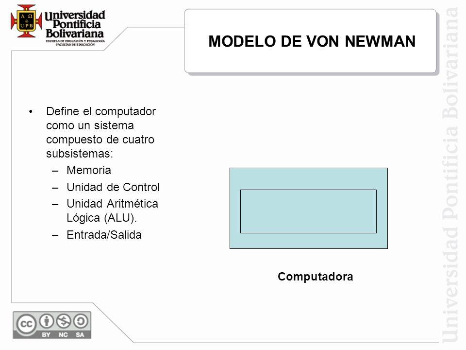 Computadora Define el computador como un sistema compuesto de cuatro subsistemas: –Memoria –Unidad de Control –Unidad Aritmética Lógica (ALU). –Entrad