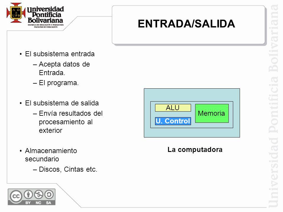 El subsistema entrada –Acepta datos de Entrada. –El programa. El subsistema de salida –Envía resultados del procesamiento al exterior Almacenamiento s
