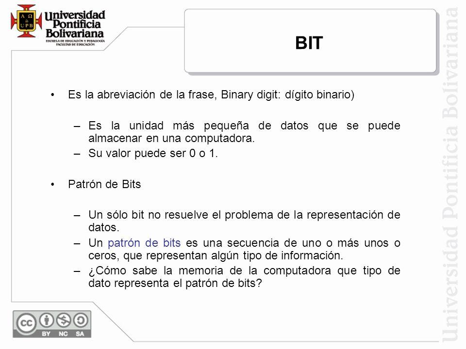 Es la abreviación de la frase, Binary digit: dígito binario) –Es la unidad más pequeña de datos que se puede almacenar en una computadora. –Su valor p