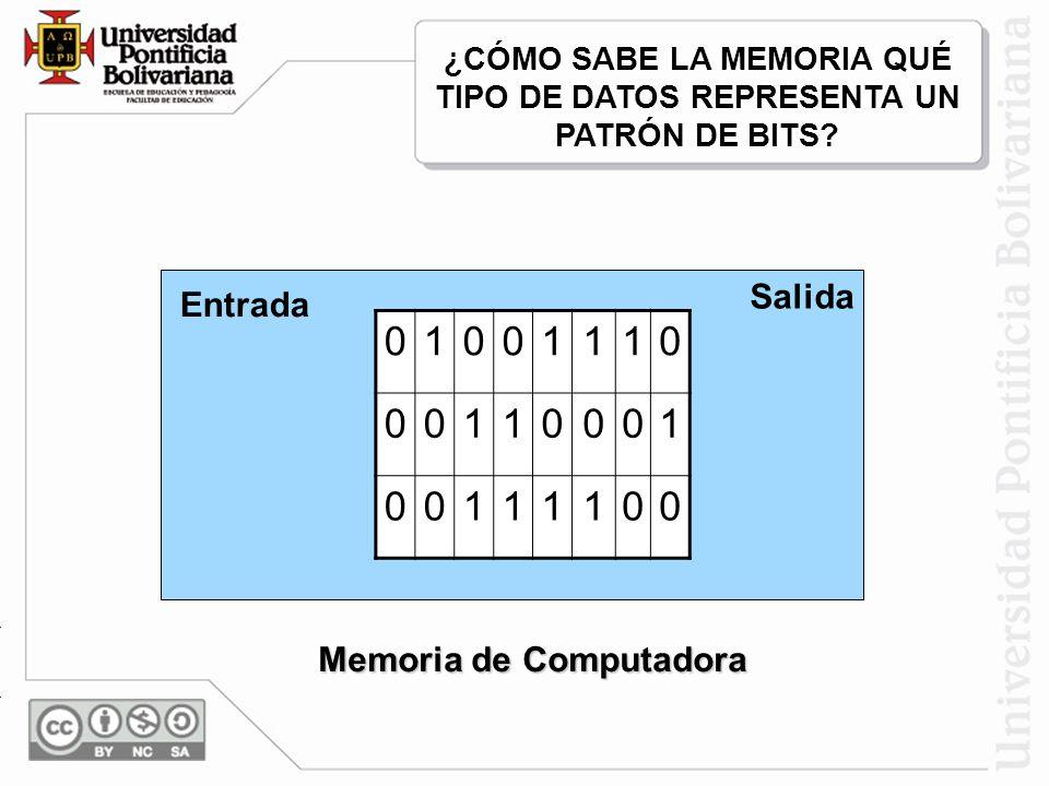 Nal Texto Nal Texto Memoria de Computadora Decodifica 01001110 00110001 00111100 Entrada Salida Codificada ¿CÓMO SABE LA MEMORIA QUÉ TIPO DE DATOS REP