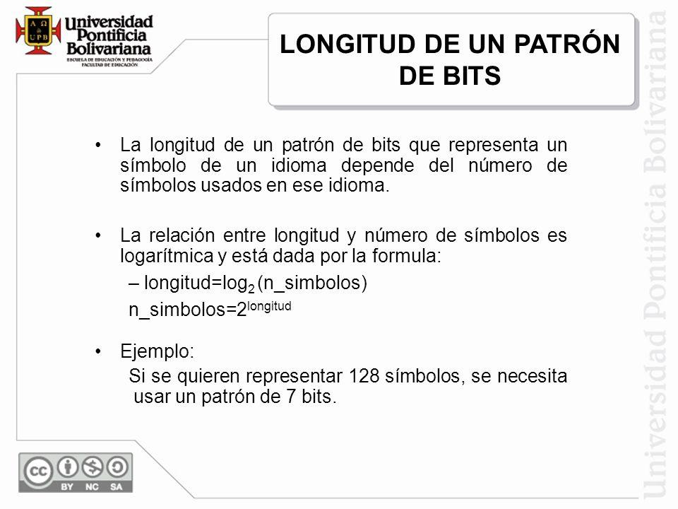La longitud de un patrón de bits que representa un símbolo de un idioma depende del número de símbolos usados en ese idioma. La relación entre longitu
