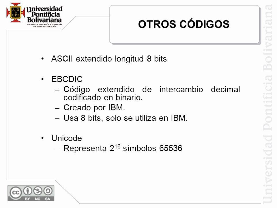 ASCII extendido longitud 8 bits EBCDIC –Código extendido de intercambio decimal codificado en binario. –Creado por IBM. –Usa 8 bits, solo se utiliza e