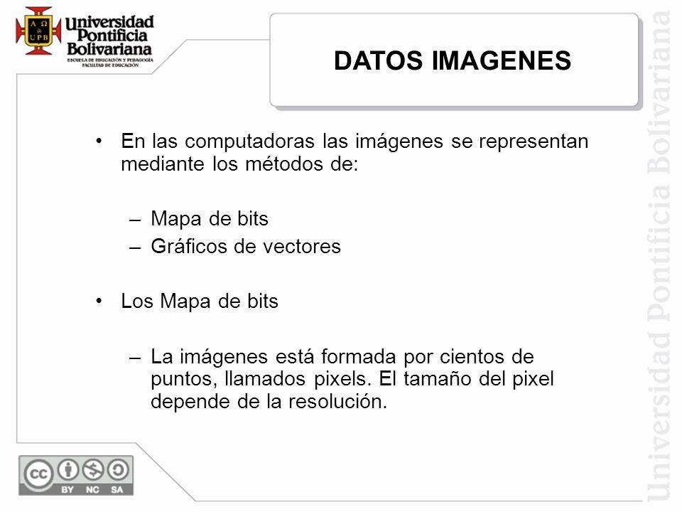 En las computadoras las imágenes se representan mediante los métodos de: –Mapa de bits –Gráficos de vectores Los Mapa de bits –La imágenes está formad