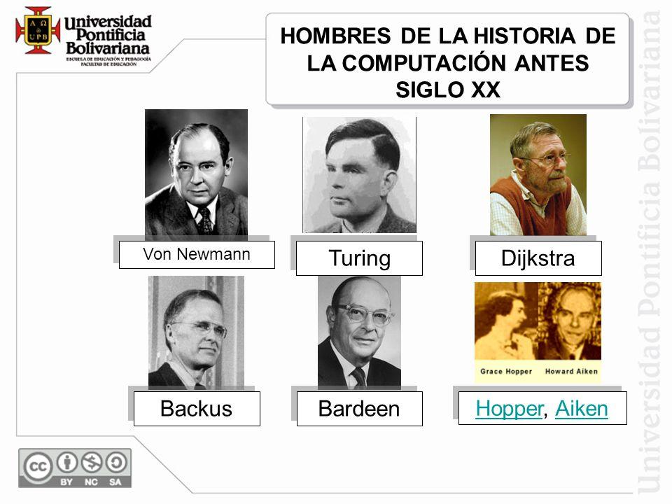 Von Newmann Turing Dijkstra Backus Bardeen HopperHopper, AikenAiken HopperHopper, AikenAiken HOMBRES DE LA HISTORIA DE LA COMPUTACIÓN ANTES SIGLO XX