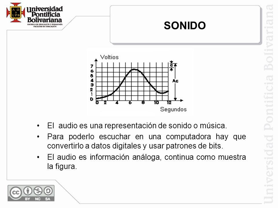 El audio es una representación de sonido o música. Para poderlo escuchar en una computadora hay que convertirlo a datos digitales y usar patrones de b