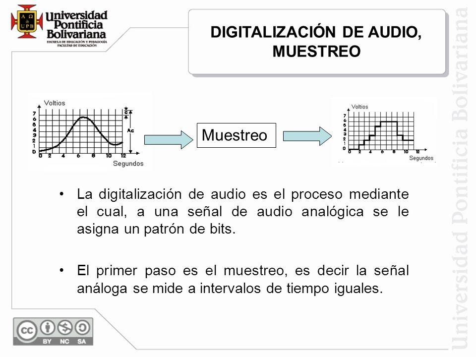 La digitalización de audio es el proceso mediante el cual, a una señal de audio analógica se le asigna un patrón de bits. El primer paso es el muestre