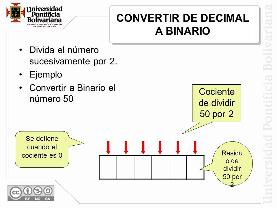 Se detiene cuando el cociente es 0 Divida el número sucesivamente por 2. Ejemplo Convertir a Binario el número 50 6 1212 2525 0 13 50 0 10 0 1 1 Cocie