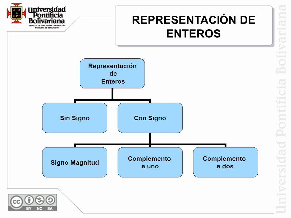Representación de Enteros Sin SignoCon Signo Signo Magnitud Complemento a uno Complemento a dos REPRESENTACIÓN DE ENTEROS