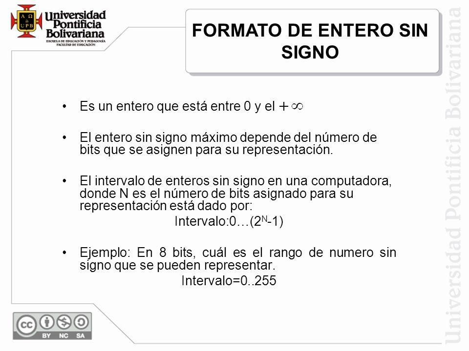 Es un entero que está entre 0 y el El entero sin signo máximo depende del número de bits que se asignen para su representación. El intervalo de entero