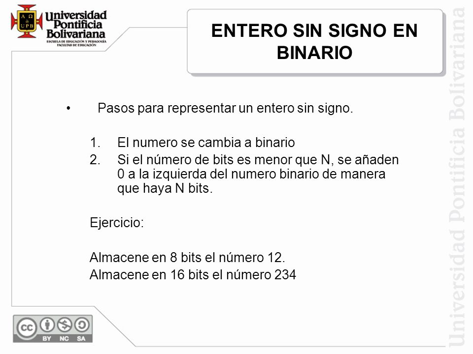 Pasos para representar un entero sin signo. 1.El numero se cambia a binario 2.Si el número de bits es menor que N, se añaden 0 a la izquierda del nume