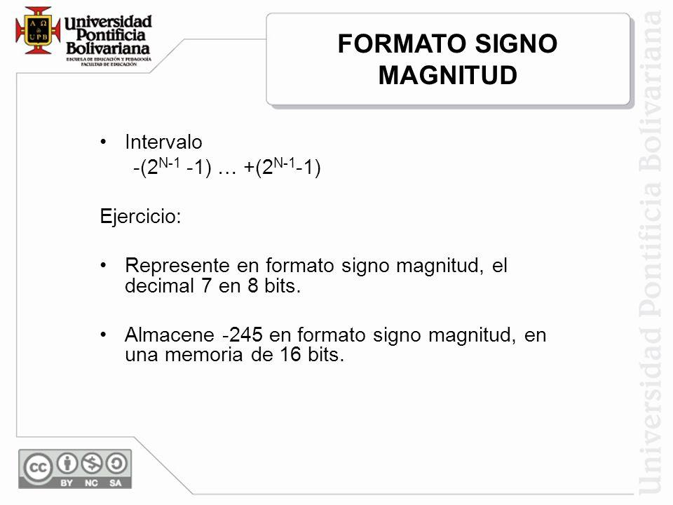 Intervalo -(2 N-1 -1) … +(2 N-1 -1) Ejercicio: Represente en formato signo magnitud, el decimal 7 en 8 bits. Almacene -245 en formato signo magnitud,
